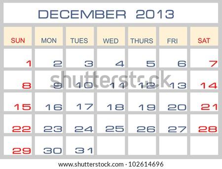 calendar December 2013 - stock photo