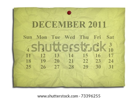 Calendar december 2011 on old Crumpled paper - stock photo