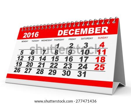 Calendar December 2016 on white background. 3D illustration. - stock photo