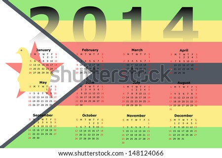 Calendar Design for 2014 with the flag of Zimbabwe in the background