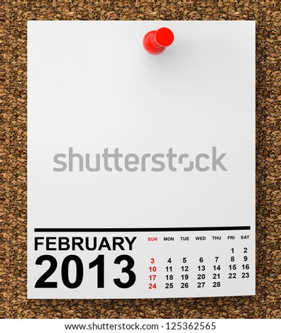 Calendar February 2013 on blank note paper with free space for your text