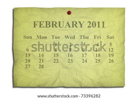 Calendar february 2011 on old Crumpled paper - stock photo