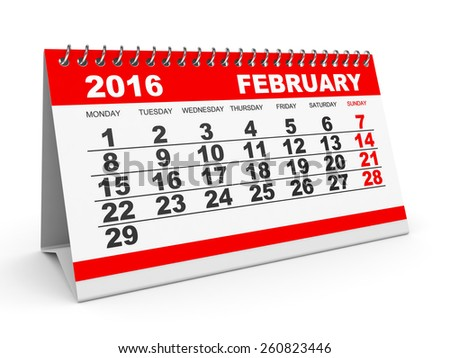 Calendar February 2016 on white background. 3D illustration. - stock ...