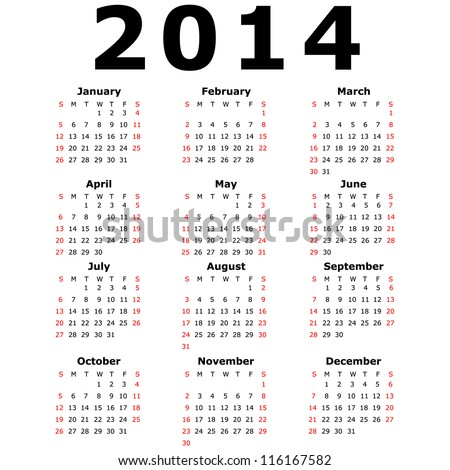 Calendar for 2014 - stock photo
