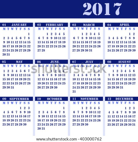 Calendar for 2017 blue design, strict business design - stock photo