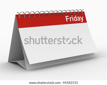 Calendar for friday on white background. Isolated 3D image