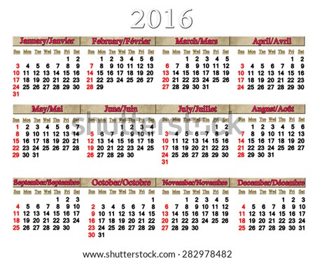 calendar for 2016 in English and French on white background with sacking ribbons - stock photo