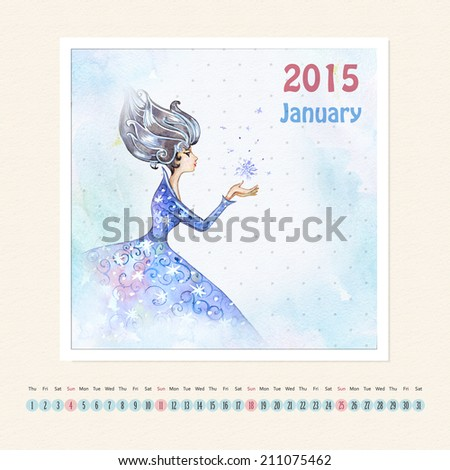 Calendar for january 2015 with girl, watercolor painting - stock photo