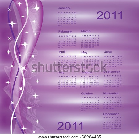 calendar for 2011 on purple, modern background