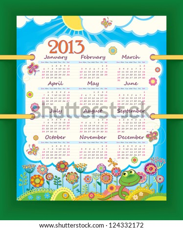 Calendar for 2013. The week starts with Sunday. Sunny day at the flower meadow. Little funny snake. raster version