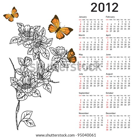 Calendar for 2012 with  flowers. Vector version also available in portfolio. - stock photo