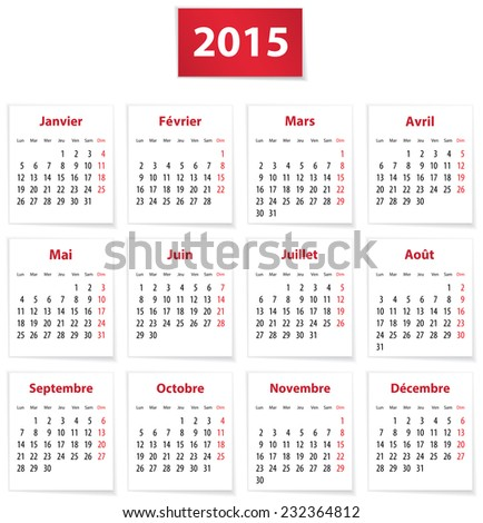 Calendar for 2015 year in French on white paper - stock photo