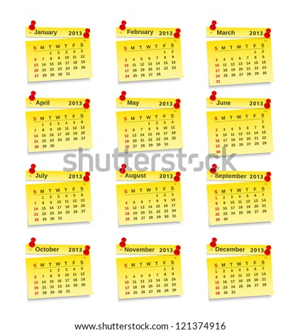 Calendar for 2013 year on yellow sticky notes