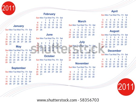 Calendar 2011 in English, week starts with Sunday - stock photo