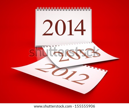 calendar 2014 in red background - stock photo