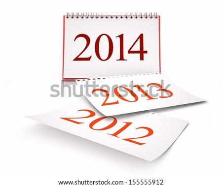 calendar 2014 in white background - stock photo