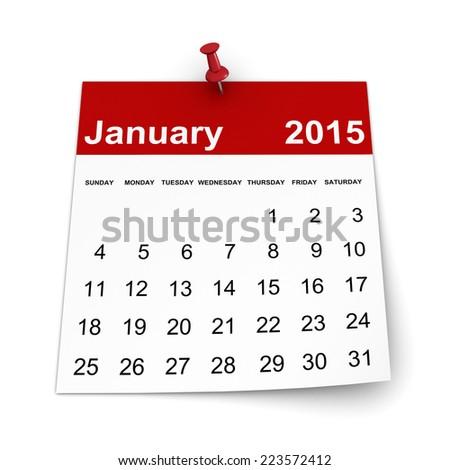 Calendar 2015 - January - stock photo