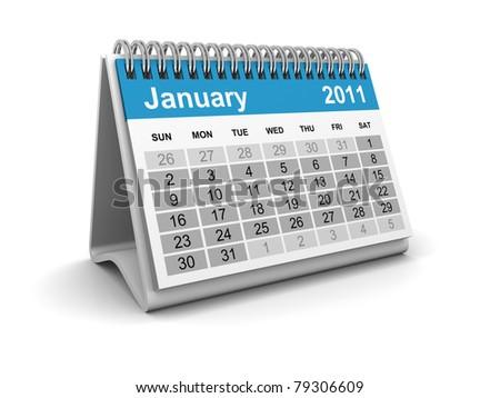 Calendar 2011 - January - stock photo