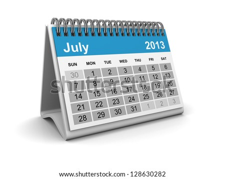 Calendar 2013 - July - stock photo