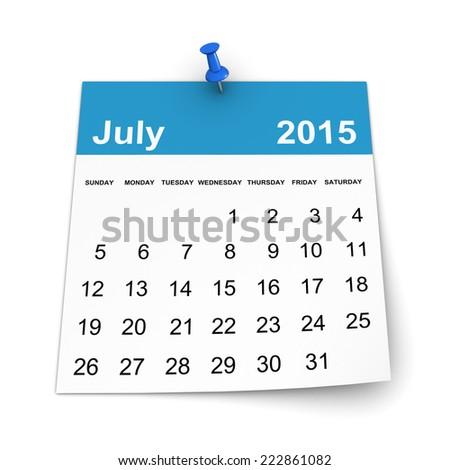 Calendar 2015 - July - stock photo