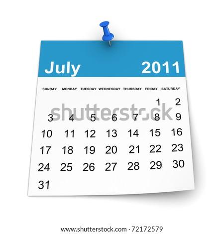 Calendar 2011 - July - stock photo