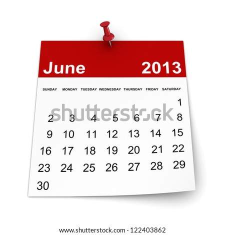 Calendar 2013 - June - stock photo