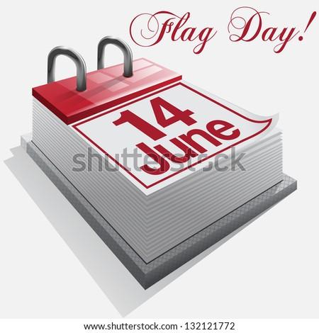 calendar 14 June, Flag Day . - stock photo