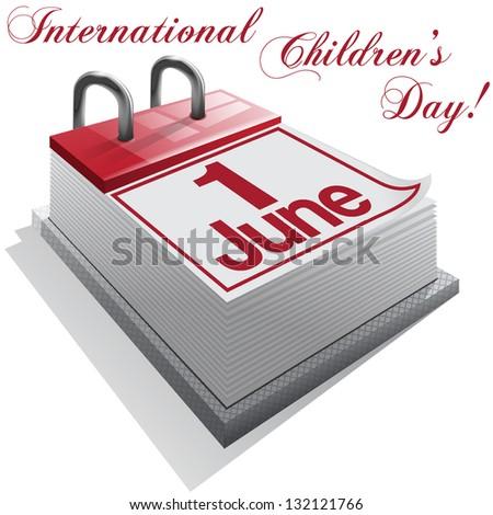 calendar 1 June, International Children's Day. - stock photo