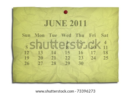 Calendar june 2011 on old Crumpled paper - stock photo