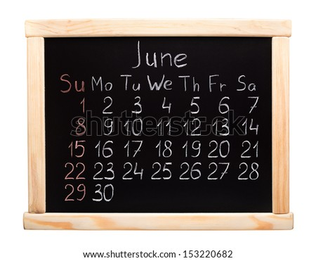Calendar 2014. June. Written on a blackboard