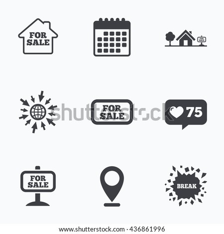 Calendar, like counter and go to web icons. For sale icons. Real estate selling signs. Home house symbol. Location pointer. - stock photo