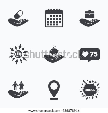 Calendar, like counter and go to web icons. Helping hands icons. Protection and insurance symbols. Financial money savings, health medical insurance. Human couple life sign. Location pointer. - stock photo