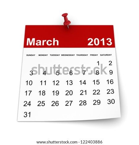 Calendar 2013 - March - stock photo