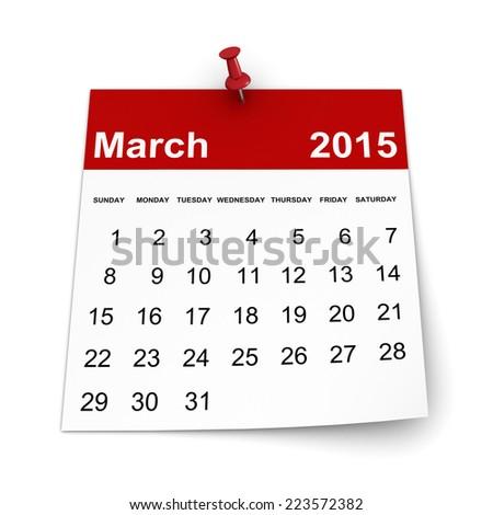 Calendar 2015 - March - stock photo