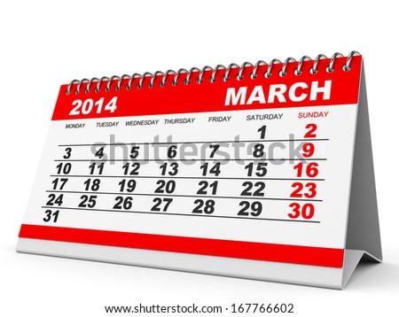 Calendar March 2014 on white background. 3D illustration. - stock photo