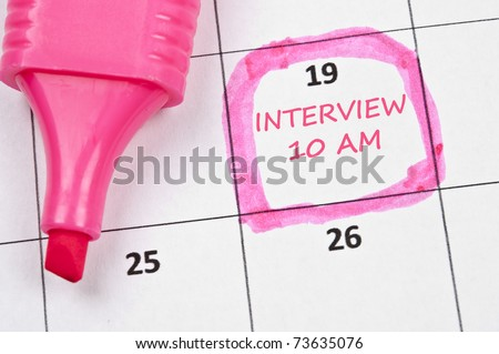 Calendar mark  with Interview - stock photo
