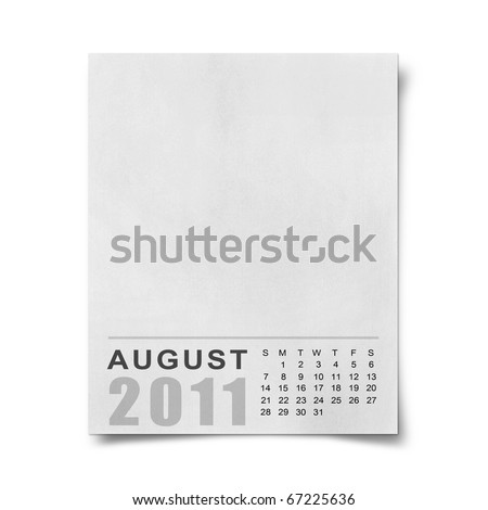 Calendar 2011 Note paper on white background august - stock photo