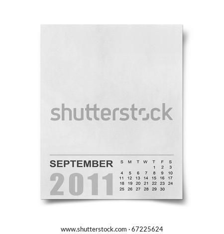 Calendar 2011 Note paper on white background.september - stock photo
