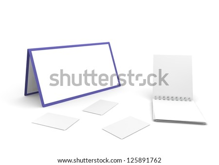 Calendar, notebook and cut-aways on the white isolated background - stock photo