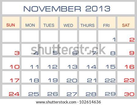calendar November 2013 - stock photo