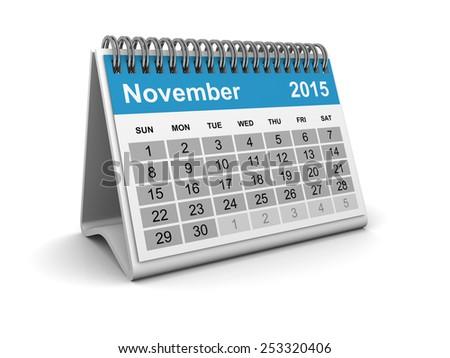 Calendar 2015 - November - stock photo
