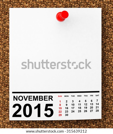 Calendar November 2015 on blank note paper with free space for your text - stock photo