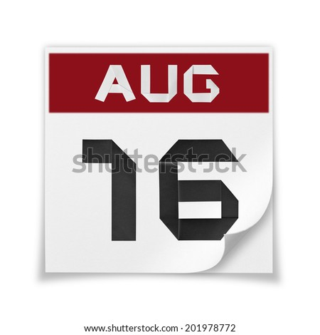 Calendar of August 16, on a white background. - stock photo