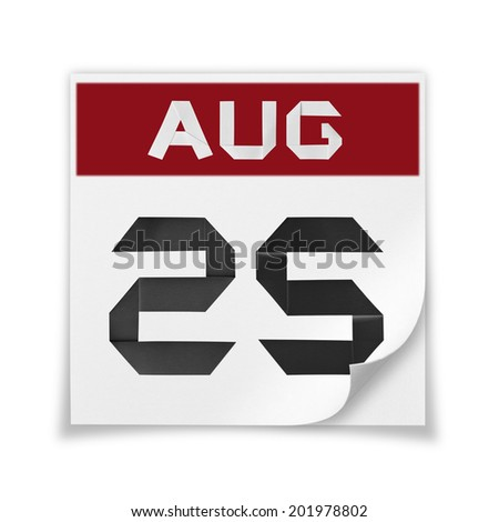 Calendar of August 25, on a white background. - stock photo