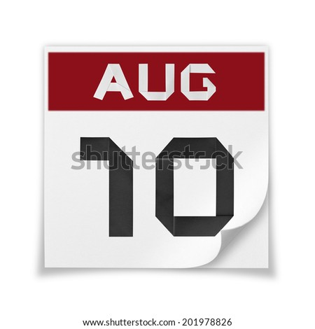 Calendar of August 10, on a white background. - stock photo