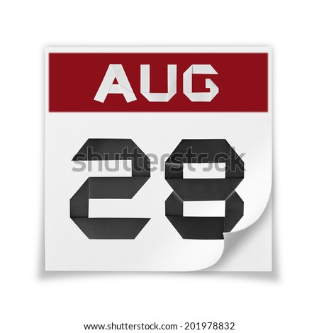 Calendar of August 28, on a white background. - stock photo