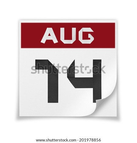 Calendar of August 14, on a white background. - stock photo