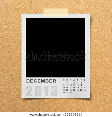 Calendar 2013 on blank photo background. - stock photo