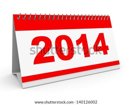 Calendar 2014 on white background. 3D illustration. - stock photo