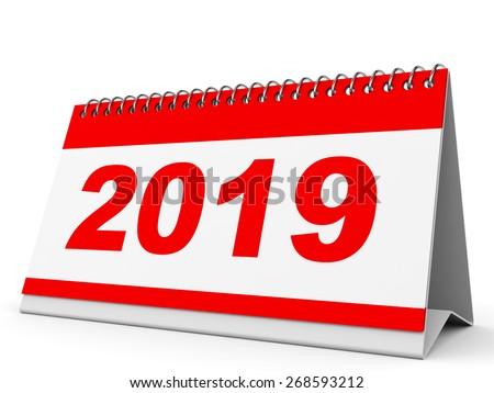Calendar 2019 on white background. 3D illustration. - stock photo